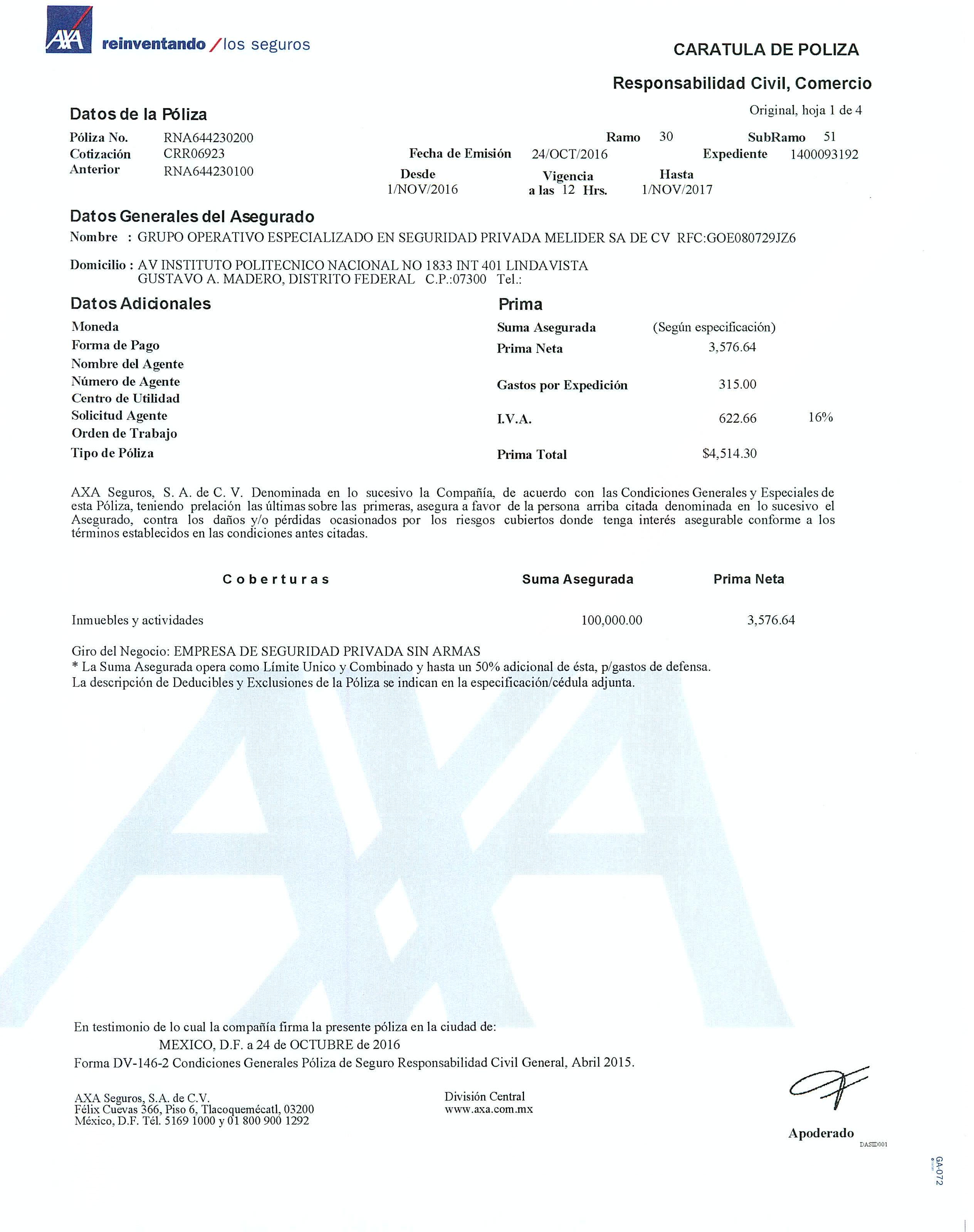 POLIZA DE SEGURO PARA NUESTROS TRABAJADORES EN GUARDIAS DE SEGURIDAD PRIVADA